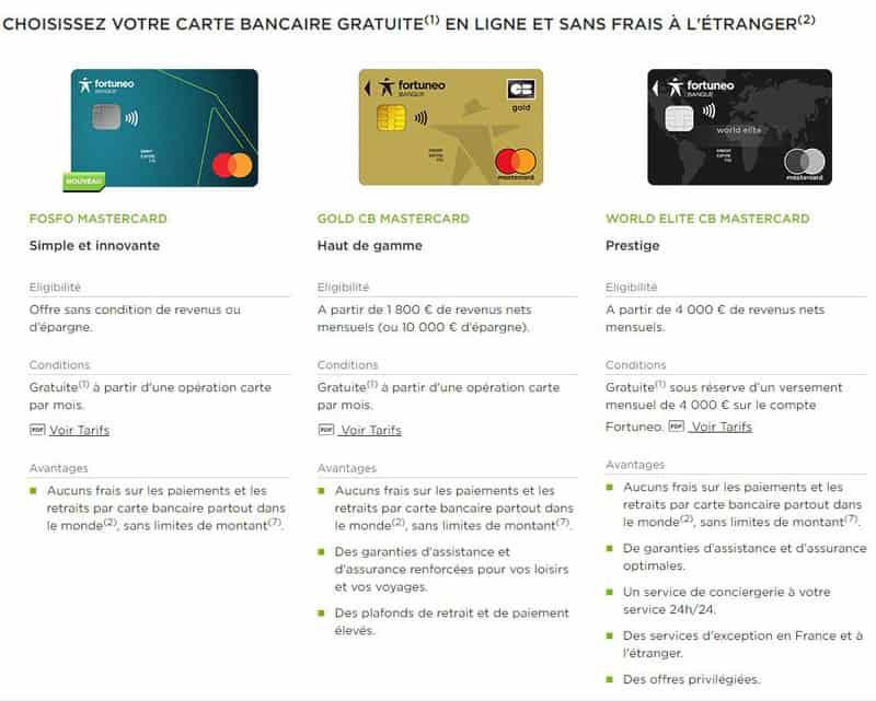 Cartes bancaires Fortunéo offres
